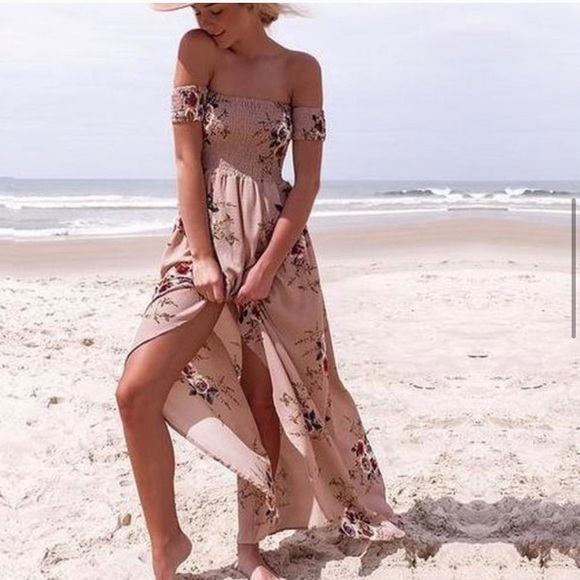 Dresses & Skirts - Summer BoHo off shoulder beach asymmetrical dress